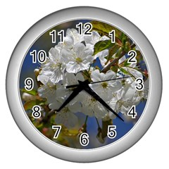 Cherry Blossom Wall Clock (silver)