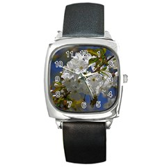 Cherry Blossom Square Leather Watch