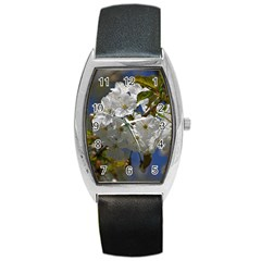 Cherry Blossom Tonneau Leather Watch by Siebenhuehner