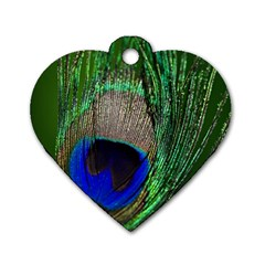 Peacock Dog Tag Heart (two Sided) by Siebenhuehner