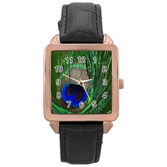 Peacock Rose Gold Leather Watch  by Siebenhuehner