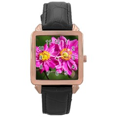 Flower Rose Gold Leather Watch  by Siebenhuehner