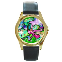 Graffity Round Leather Watch (gold Rim)  by Siebenhuehner
