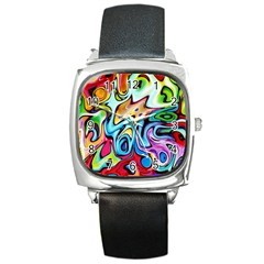 Graffity Square Leather Watch by Siebenhuehner