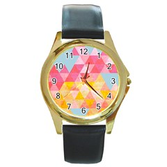 Pastel Triangles Round Leather Watch (gold Rim)