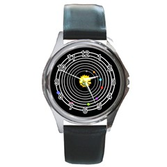 Solar System Round Leather Watch (silver Rim) by PaolAllen2