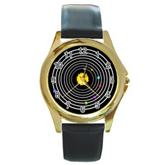 Solar System Round Leather Watch (gold Rim)  by PaolAllen2