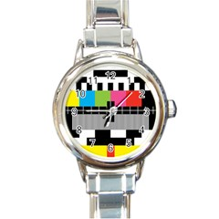 Test Pattern Round Italian Charm Watch