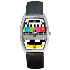 Test Pattern Tonneau Leather Watch by Contest1753604