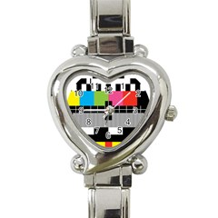 Test Pattern Heart Italian Charm Watch