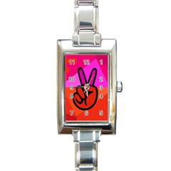 Love Peace Rectangular Italian Charm Watch