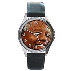 Mandela Round Leather Watch (silver Rim)