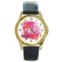 Nero ! Watch Round Leather Watch (gold Rim)  by Contest1701949