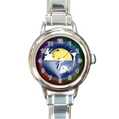 Fishing Dead Round Italian Charm Watch by Contest1763580