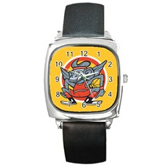Flying Monkey Square Leather Watch