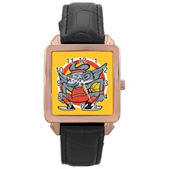 Flying Monkey Rose Gold Leather Watch