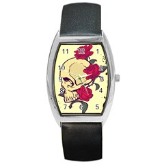 Skeleton Tonneau Leather Watch