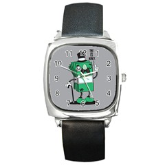Don t Waste Your Time    Square Leather Watch