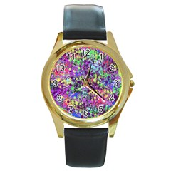 Fantasy Round Leather Watch (gold Rim)  by Siebenhuehner