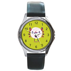 Moshi Watch Round Leather Watch (silver Rim)