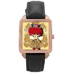 Flan Rose Gold Leather Watch  Front