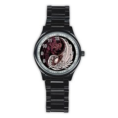Yinyang Sport Metal Watch (black) by DesignsbyReg2