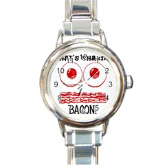 Whats Shakin Bacon? Round Italian Charm Watch by Contest1804625