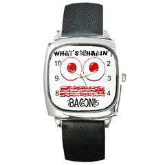 Whats Shakin Bacon? Square Leather Watch by Contest1804625
