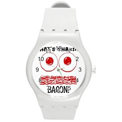 Whats Shakin Bacon? Plastic Sport Watch (medium) by Contest1804625