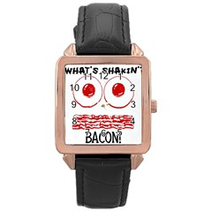Whats Shakin Bacon? Rose Gold Leather Watch  by Contest1804625