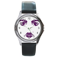Beauty Time Round Leather Watch (silver Rim) by Contest1704350