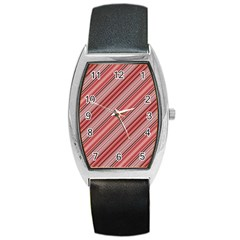 Lines Tonneau Leather Watch by Siebenhuehner
