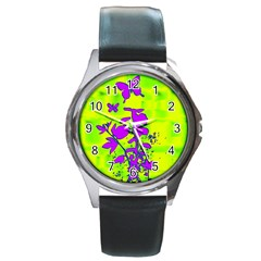 Butterfly Green Round Leather Watch (silver Rim)