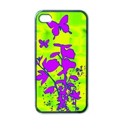 Butterfly Green Apple Iphone 4 Case (black) by uniquedesignsbycassie
