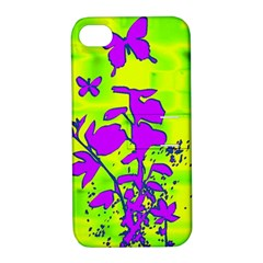 Butterfly Green Apple Iphone 4/4s Hardshell Case With Stand by uniquedesignsbycassie