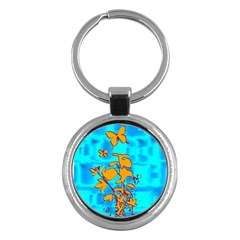 Butterfly Blue Key Chain (round)