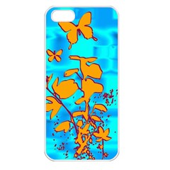 Butterfly Blue Apple Iphone 5 Seamless Case (white)