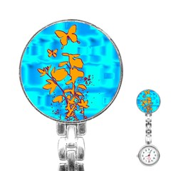 Butterfly Blue Stainless Steel Nurses Watch by uniquedesignsbycassie