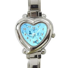 Floral Blue Heart Italian Charm Watch  by uniquedesignsbycassie