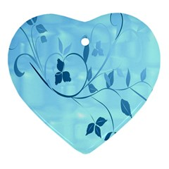 Floral Blue Heart Ornament (two Sides) by uniquedesignsbycassie