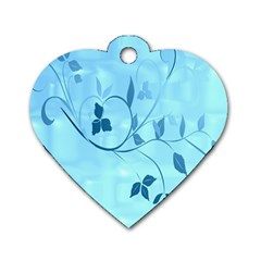 Floral Blue Dog Tag Heart (one Sided)  by uniquedesignsbycassie