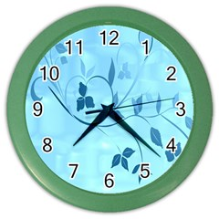 Floral Blue Wall Clock (color)