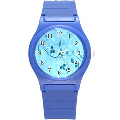 Floral Blue Plastic Sport Watch (small)