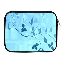 Floral Blue Apple Ipad Zippered Sleeve by uniquedesignsbycassie