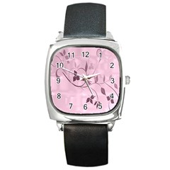 Floral Purple Square Leather Watch