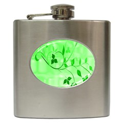 Floral Green Hip Flask by uniquedesignsbycassie