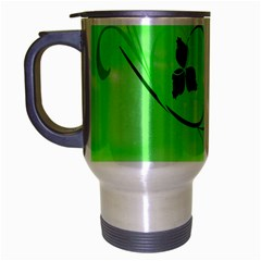 Floral Green Travel Mug (silver Gray)