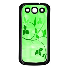 Floral Green Samsung Galaxy S3 Back Case (black) by uniquedesignsbycassie