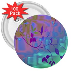 Floral Multicolor 3  Button (100 Pack) by uniquedesignsbycassie
