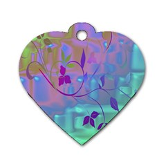 Floral Multicolor Dog Tag Heart (one Sided)  by uniquedesignsbycassie